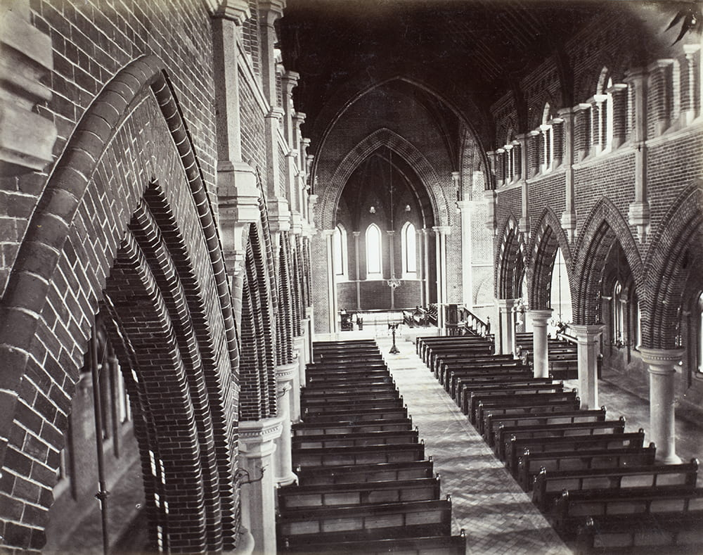 Interior of Holy Trinity Cathedral, Shanghai, c1870. The 'British Church' or Holy Trinity Church (later Holy Trinity Cathedral) was consecrated in 1869. Unidentified photographer. HPC ref: Fr01-128.