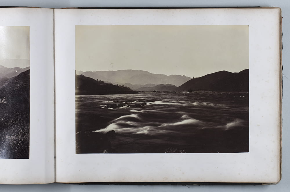 Rapids at Nanping, Fujian, c1870. 'Freezing' rapidly flowing water in a photograph was not possible with the slow shutter speeds available at the time. This could make for dreamy waterscapes. See Fr01-098. Photograph by John Thomson. HPC ref: Fr01-p078.