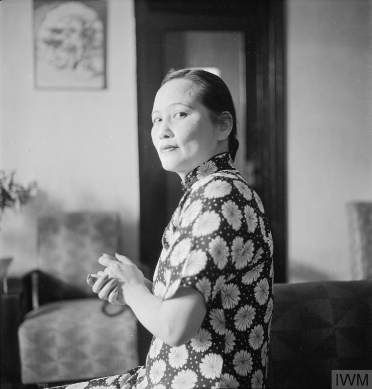 Half length portrait of Madame Sun Yat-sen, in Chongqing. Photograph by Cecil Beaton. © IWM IB 3459C.
