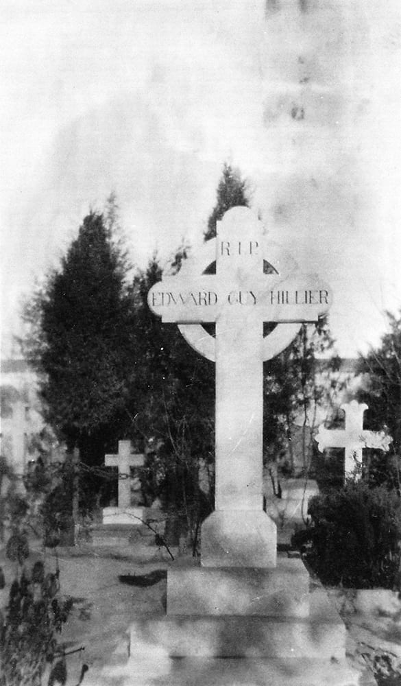 The original head-stone on Guy's grave at Beitang cemetery, later destroyed during the Cultural Revolution after its removal to Waiqiao Cemetery. HPC ref: Hi-s347.