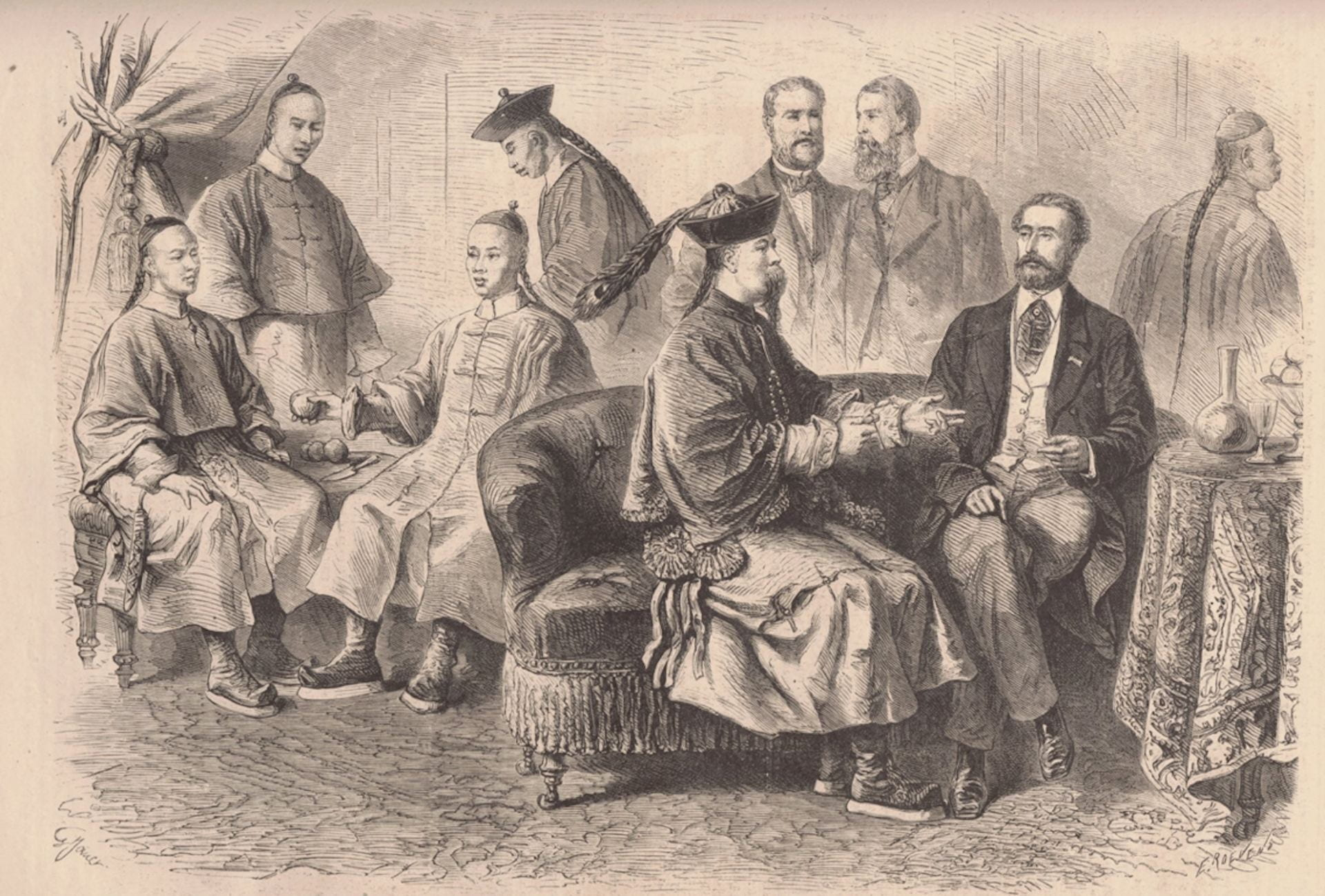 Figure 2: Binchun and the Tongwenguan students at a French salon, 1866, Le Monde illustré, May 19, 1866.