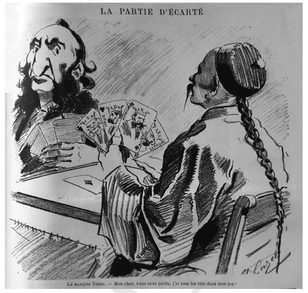 Figure 7: French political cartoon depicting Zeng Jize playing cards with Jules Ferry as an allegory of their intense negotiations in the months leading up to the Sino-French War. Le monde parisien, 1883.