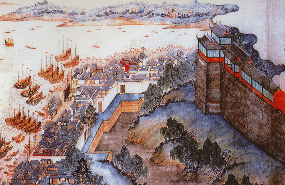 View of the Phoenix Tower (上海丹凤楼胜景图), Shanghai, by Cao Shiting (曹史亭). Source: Shanghai Library Archive.