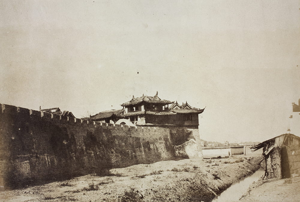 Phoenix Tower on the east wall of Chinese City, looking towards the Bund, Shanghai, 1850s. Photograph by Robert Sillar. HPC ref: VH02-120.