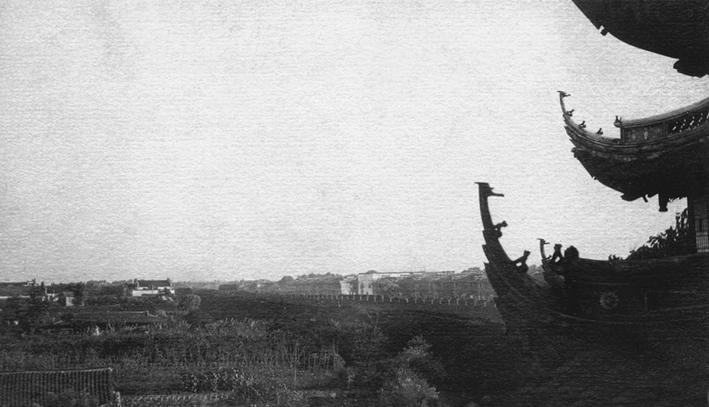 View from the Dajing Pavilion over the western part of the walled city, Shanghai, c.1900. Source: Shanghai Library Archive.