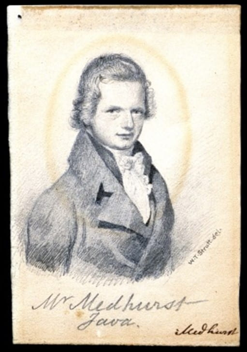 Fig. 1. One of two identical portraits in Archives and Special Collections, SOAS, the first with just 'Mr Medhurst' written on it and this one, with 'Mr Medhurst Java' added at a later date. The portrait was done by W.T. Strutt before Medhurst left England in 1816. Archives and Special Collections, SOAS ref: CWM/LMS/Home/Miniature Portraits/Box 11 (CWM/LMS/01/09/01/05A).