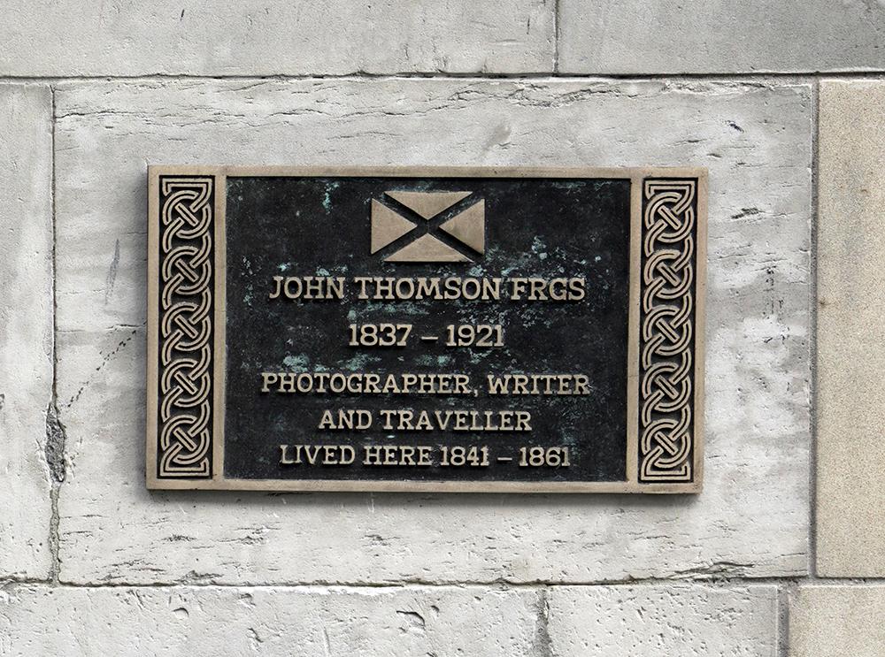 The Historic Environment Scotland plaque commemorating John Thomson, outside his childhood home, 6 Brighton Street, Edinburgh. Photograph by Michael Pritchard.