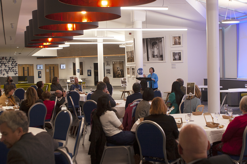 Betty Yao MBE speaking at the Opening of the exhibition 'China Through the Lens of John Thomson' at the Heriot-Watt University. Photograph by Jamie Carstairs.