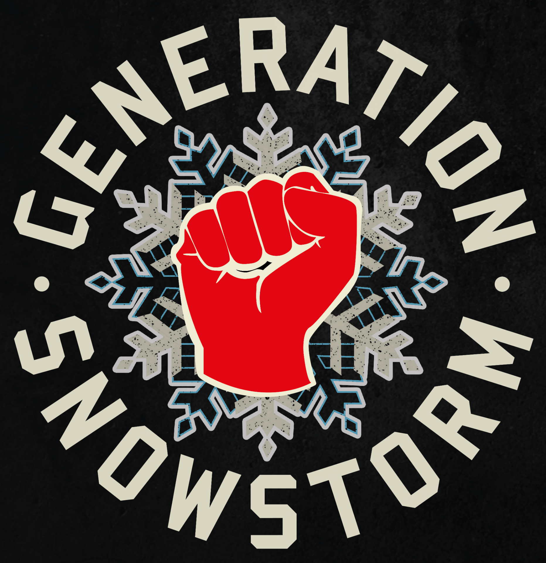 Red fist superimposed on top of a snowflake