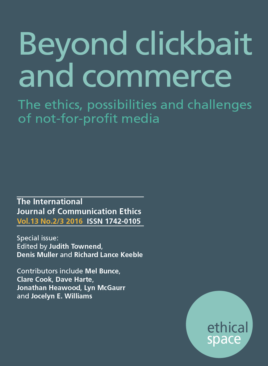 Prof Bunce's article is part of a special issue of Ethical Spaces