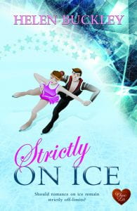 A book cover with a couple ice skating surrounded by lights and stars.