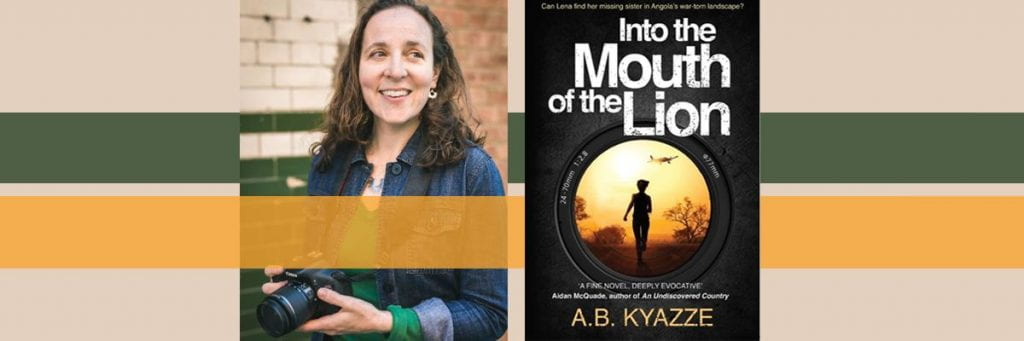 A portrait of Amelia smiling and holding a camera next to the cover of her novel. On the cover a woman is seen through a camera lens running towards a yellow sky.