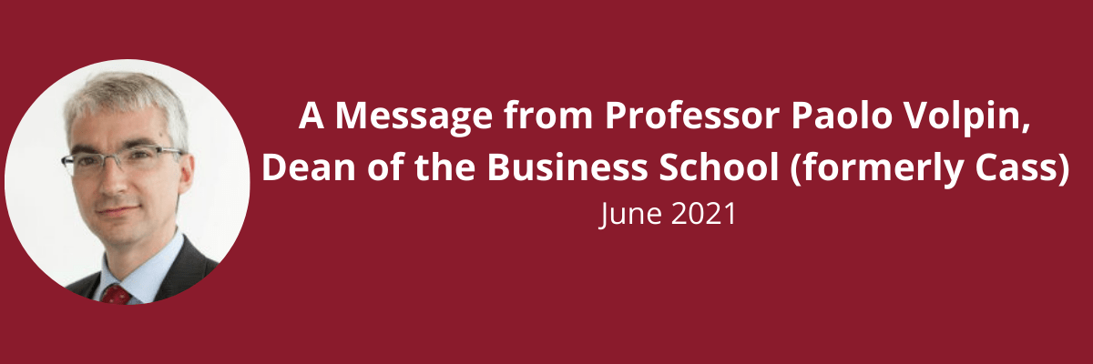 A message from Professor Paolo Volpin