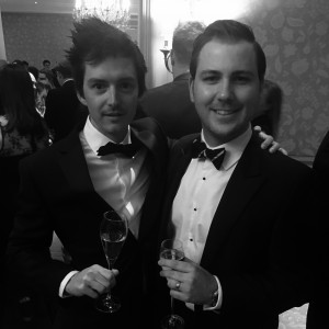 Myself and Matt Johnson (right) at The Savoy. The ample supply of champagne ensured many great soliloquies were delivered. Sadly, and fortunately, none were recorded.