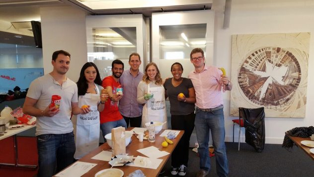 Liying and her group during the MBA Cass Bake Off