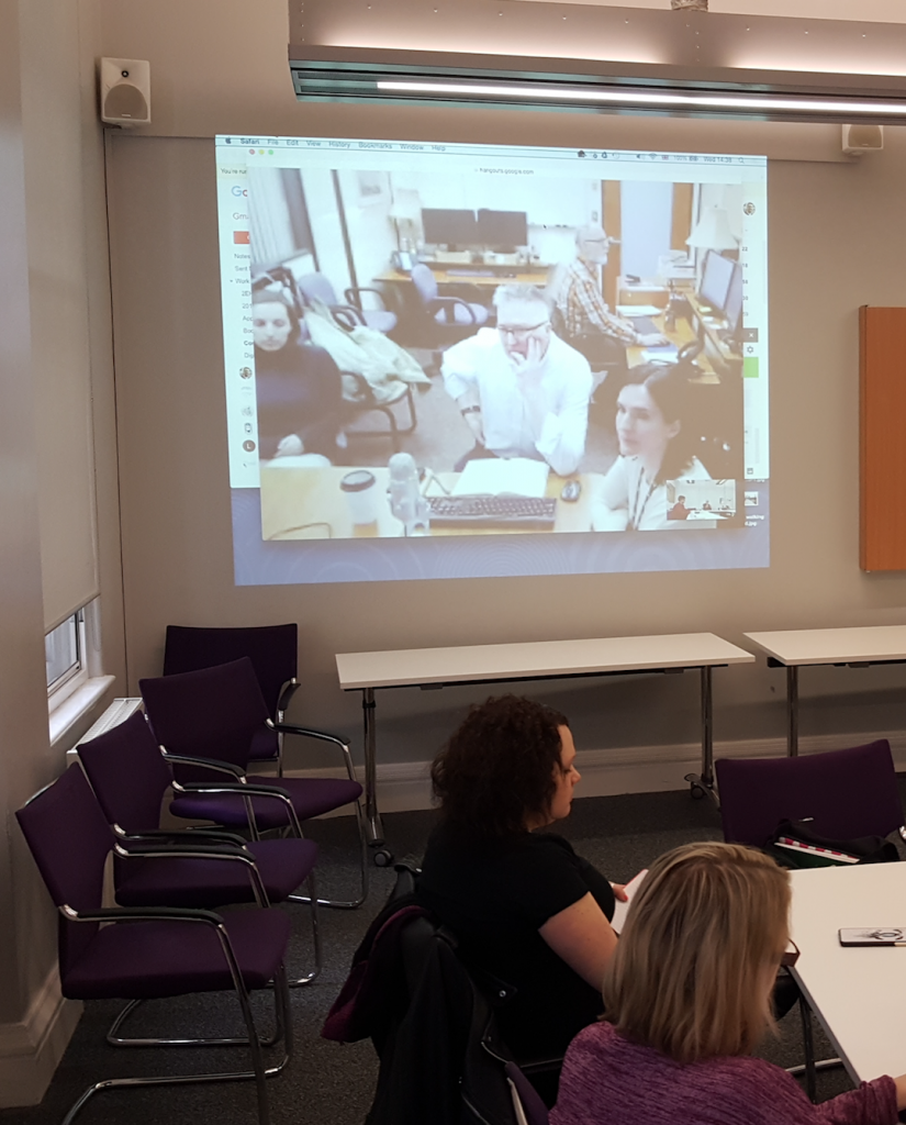Peter Wilkins and members of the Douglas College Psychiatric Nursing team participate remotely at a Parables of Care workshop at City, 22 March 2017