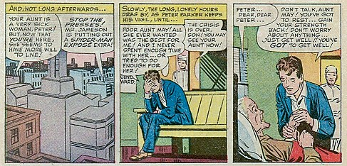 Peter Parker takes care of his aunt May after she suffers a heart attack. In Stan Lee (w), Steve Ditko (p), Sam Rosen (l), The Amazing Spider-Man, Vol 1, No. 17, October 1964.