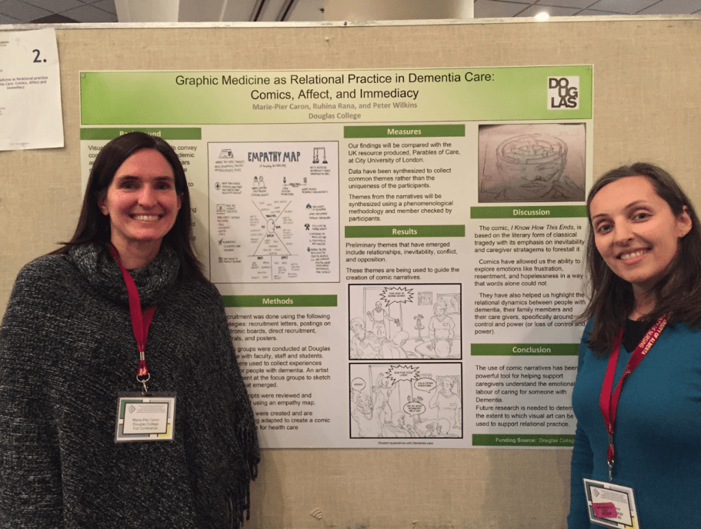 Marie-Pier Caron and Ruhina Rana of the Bachelor of Science, Nursing program, Douglas College, and their poster at the West North-Western Region Canadian Association of Schools of Nursing conference, Edmonton Alberta, February 20-22, 2019.
