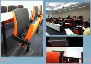 Collaborative-style lecture theatre seating (swivel seating):