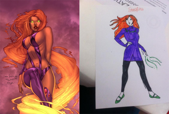 Starfire comics costume (left); and costume design  from Loncon3.