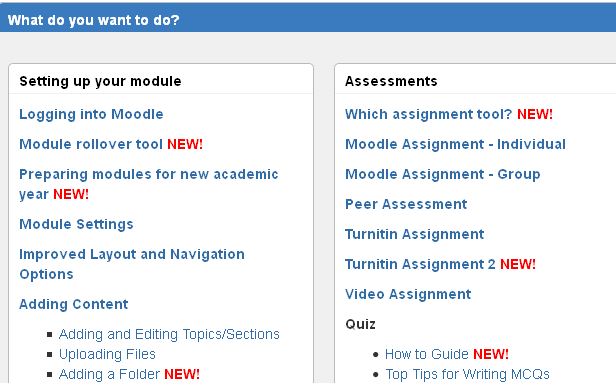 New Moodle guidance