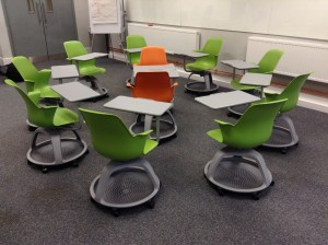 Node chairs configured for a 'fishbowl' activity