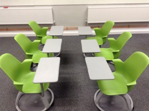 Node chairs configured for pairwork in rows