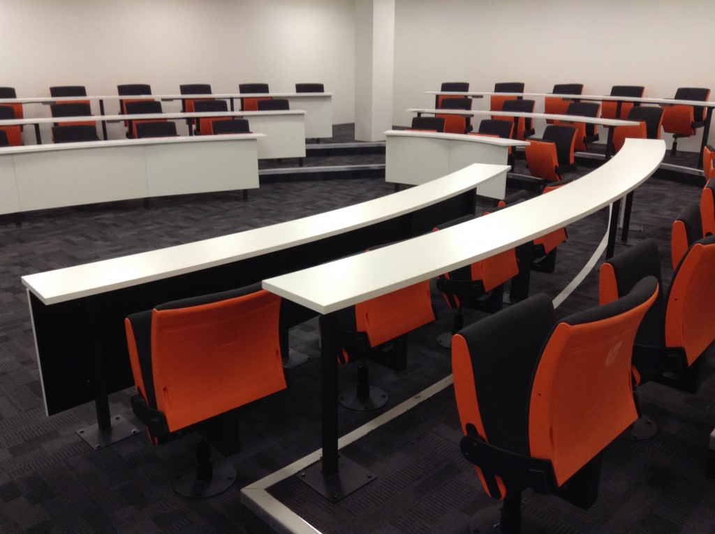 R101 is a horseshoe-shaped lecture theatre fully equipped with swivel seating