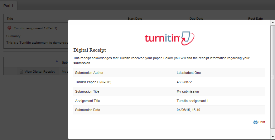 Turnitin digital receipt