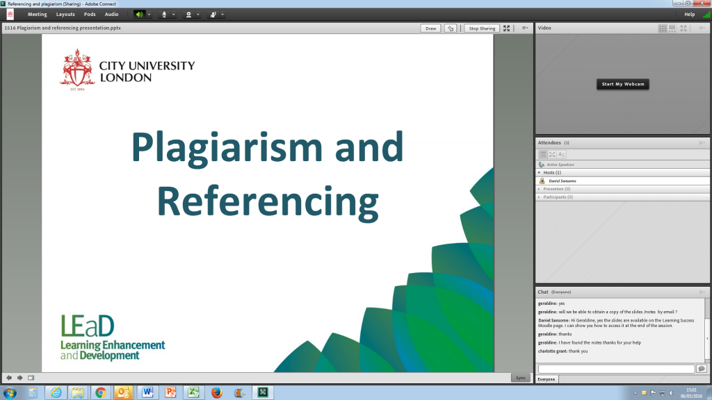 Screenshot of Adobe Connect page for a workshop on plagiarism and referencing.