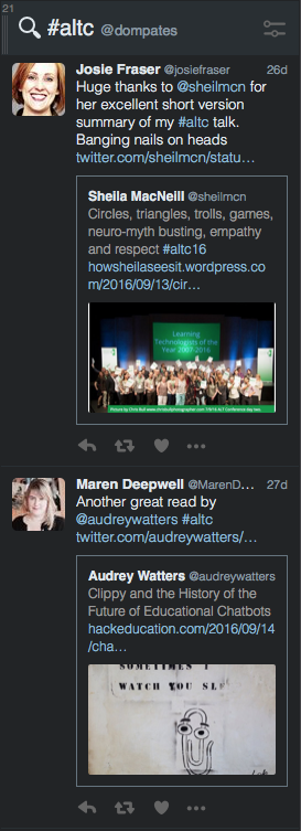 #altc Tweetdeck search
