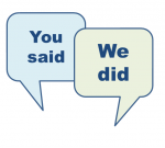 Speech bubbles saying - You said, we did