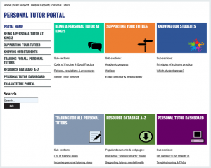 Screen shot of the homepage of the personal tutor portal at King's College, London. Shows the simple design and how everything is grouped into one place.
