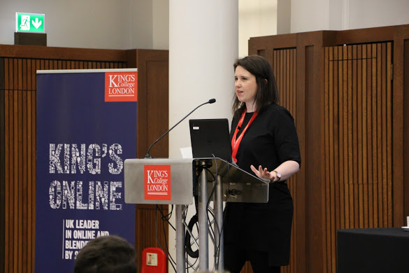 Photo of Anna Wood presenting about King's Online