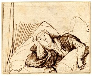 A pencil drawing by Rembrandt of a woman lying awake in bed (Circa 1635-1640).