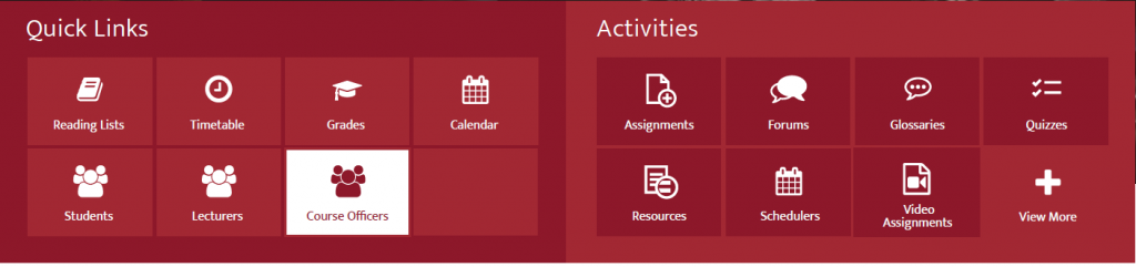 Redesigned Module Dashboard with Course Officers link highlighted