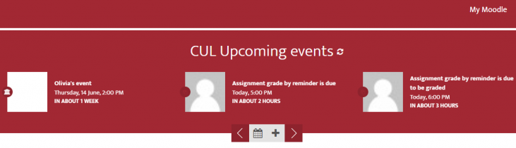 Upcoming Events block displaying Grade by reminder