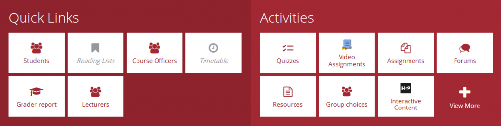 Module Dashboard with Quicklinks and Activities