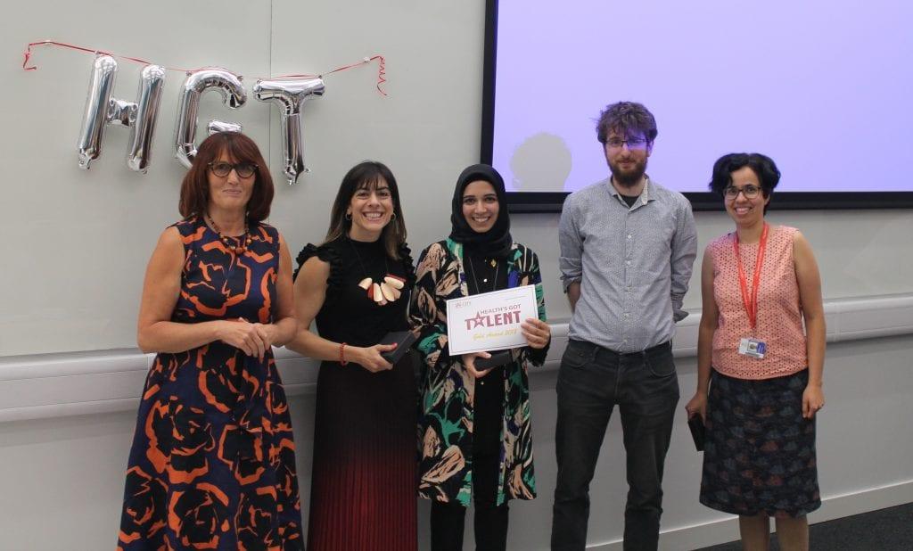 Gold award winners - IreneCtori, Farah Mohamed, Ahalya Subramanian and Peter Jones with Prof Debra Salmon
