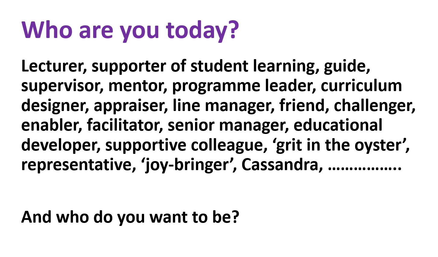 Copy of 'Who are you today?' slide from Professor Sally Brown's SEDA workshop