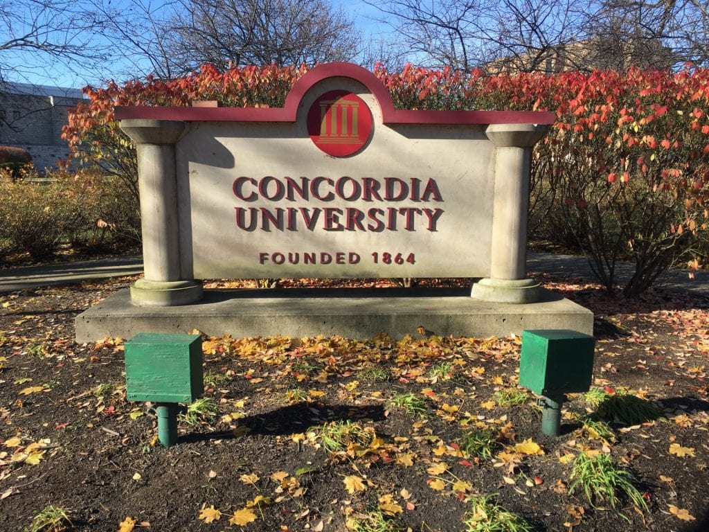 Sign for Concordia University, Chicago, during the fall