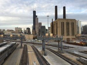 Chicago skyscrapers, seen from the train tracks