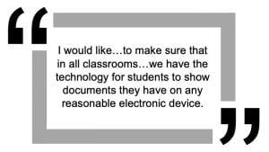 Staff request for student content sharing from their own devices