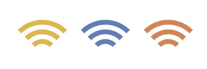 Different coloured versions of the wifi symbol