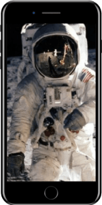 Picture of Neil Armstrong on an iPhone 7 screen