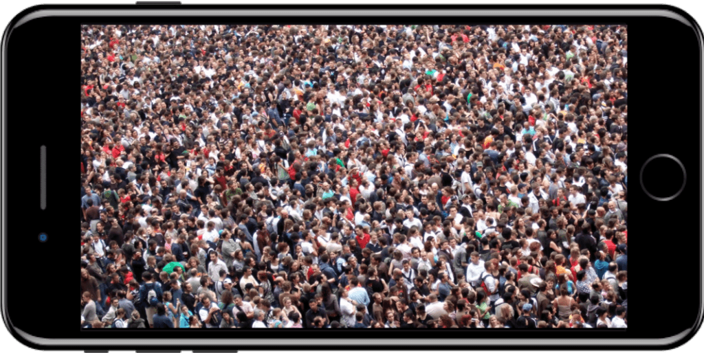 Crowd displayed on an iPhone 7