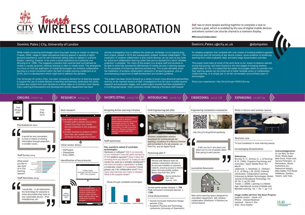 'Towards Wireless Collaboration' poster (Pates, 2018)
