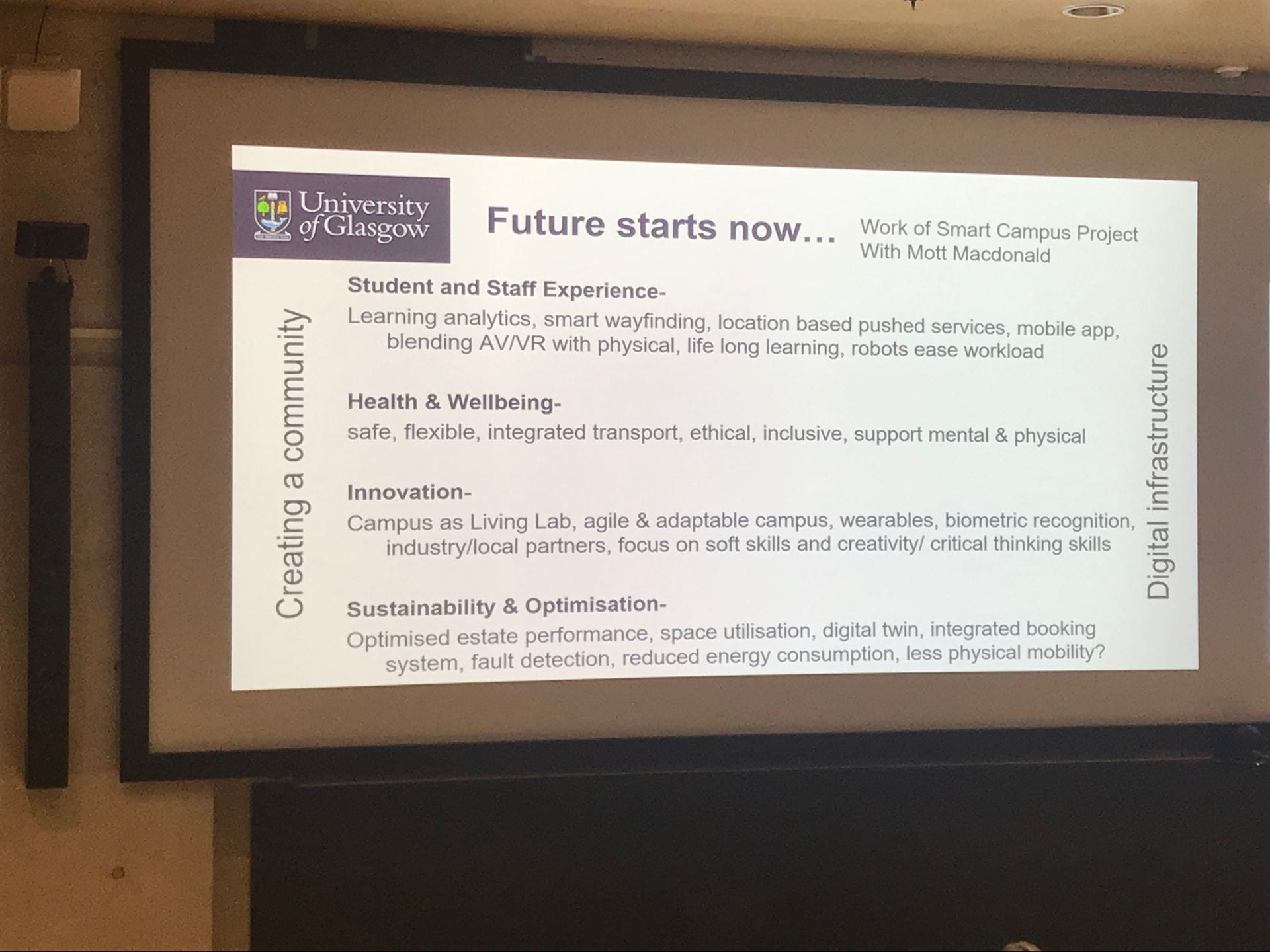 Slide focussing on what is being focussed on to achieve the campus of the future