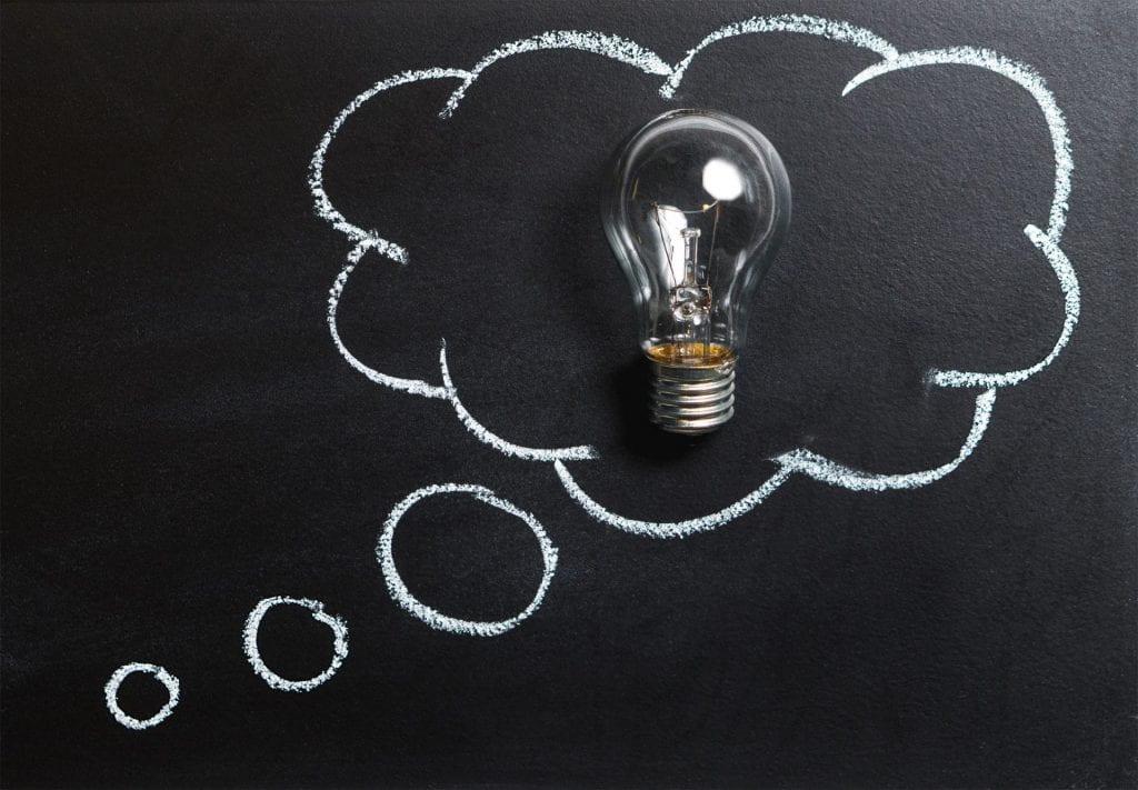 lightbulb in an idea bubble