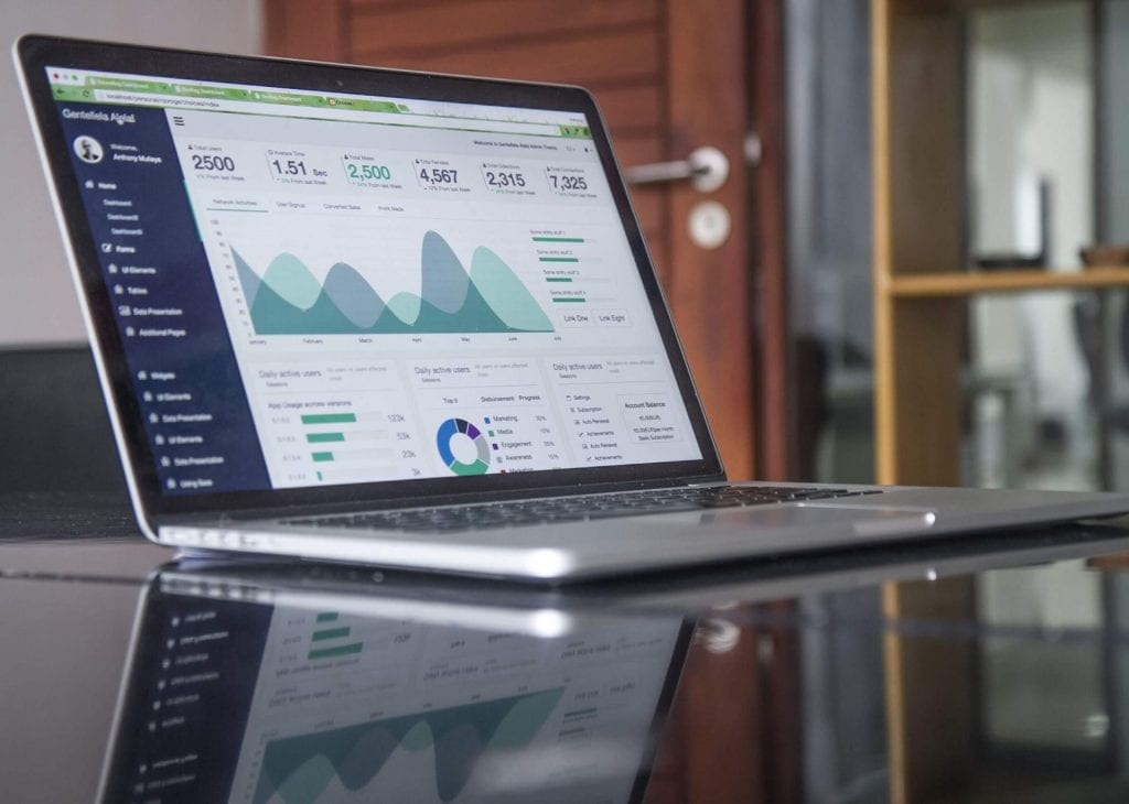 Laptop showing analytics dashboard